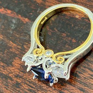 Jewelry - Two Tone Gold Sterling Silver Sapphire Stone Ring